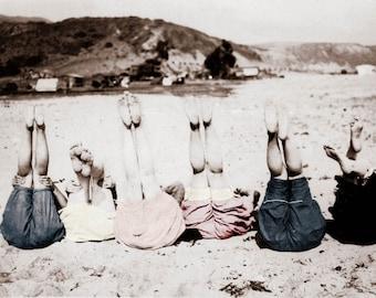 Bathing beauty Gals Kick up Legs on Beach vintage photo print