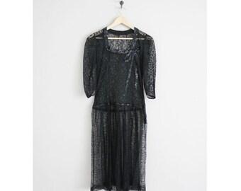 chantilly lace dress / 1930s dress / black lace dress