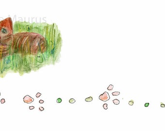 INSTANT download Orange CAT in grass meadow // letterhead clipart illustration  stationery design
