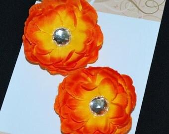 Sunset Orange Flower Hair Clip Set - Buy 3 Items, Get 1 Free