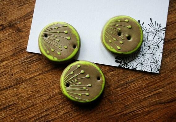 kiwi bead polymer clay connector 1 bead by summerwindart