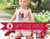 Firetruck, Fireman Jon Jon, shot or long in sizes 12m, 18m, 2t, 3, 4 great for a birthday all in red and white ticking by Silly Nilly