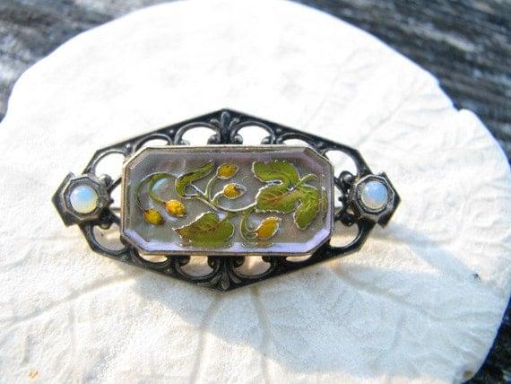 Sweet Victorian Sterling Brooch, Reverse Carved Enameled Floral Design, Charming Detail