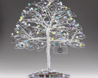 """Personalized Family Tree Sculpture with Swarovski Crystal Elements Birthstones 8"""" x 9"""" Mother's Day Anniversary Birthday Christmas Gift Idea"""