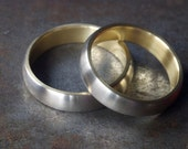 White and Yellow Gold Wedding Band Set - Seamless