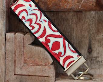 READY TO SHIP-Beautiful Key Fob/Keychain/Wristlet-Red Blue Swirl on Black