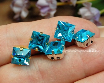 Aquamarine, Vintage Swarovski, 8mm Square, Prong Setting, Crystal Sew On, Craft Supplies, Jewelry Making, March Birthstone, Genuine Crystal