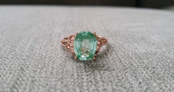 Mint Tourmaline And Diamond Ring Gemstone Engagement Ring
