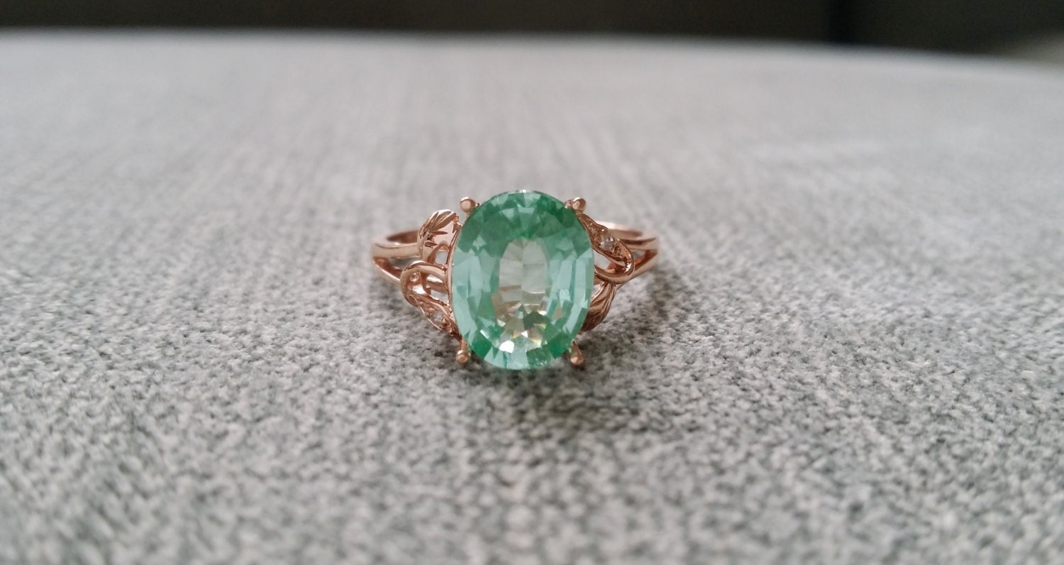 Mint Tourmaline And Diamond Ring Gemstone Engagement Ring