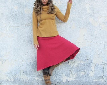 ORGANIC Wanderer Below Knee Fleece Skirt ( hemp and organic cotton fleece ) - organic skirt