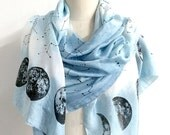 Final Few left: Scarf Indigo Dyed Across the Sky - Hand Dyed and Hand Printed Silk Scarf