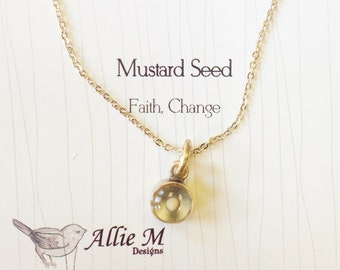 Gold Faith Mustard Seed Necklace - Faith Charm, Small round Resin Charm, Simple Everyday Necklace
