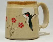 Ruby Throated Hummingbird  Pottery Coffee  Mug  Limited Series 146 microwavable 12 ounce
