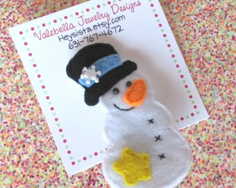 Frosty and Fabulous winter snowman snowflake brooch stocking stuffer gift topper