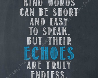 Kind Words Echo- Mother Teresa -Instant Download for Canvas and Paper Printing - Navy Blue Tinted Blackboard