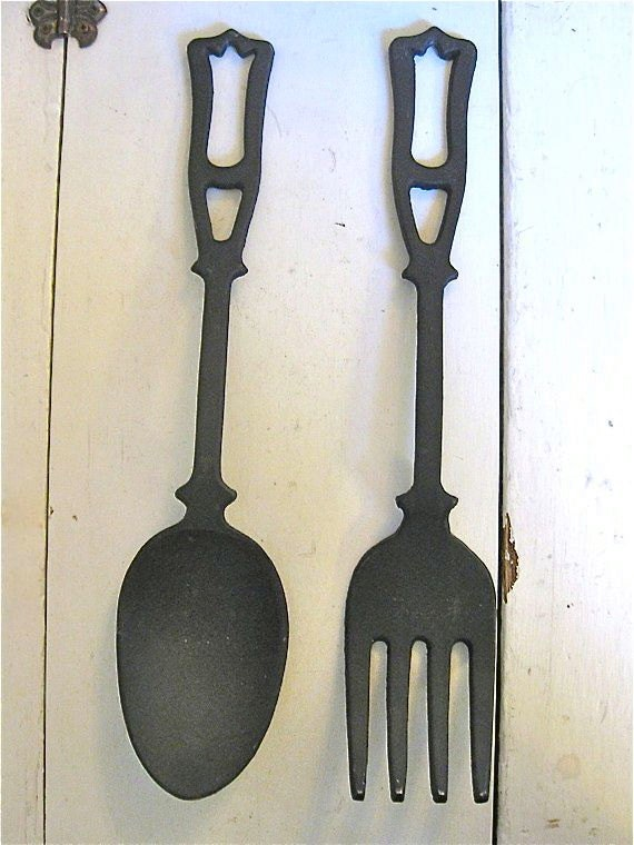 giant fork and spoon vintage kitchen decor large. Black Bedroom Furniture Sets. Home Design Ideas