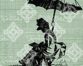 Digital Download Victorian Woman Sketching digi stamp, digis, digital stamp, Antique Illustration, Elegant Lady with Umbrella