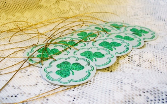 Shamrock Tags, St. Patrick's Day Tags, with Flourish border, Green and Gold, Round with Gold Cord, Irish, Ireland