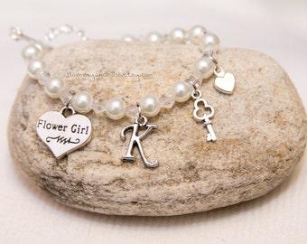 Flower Girl bracelet, wedding party jewelry, initial charm jewelry, flowergirl charm bracelet, key with pearls bracelet, white pearl beads