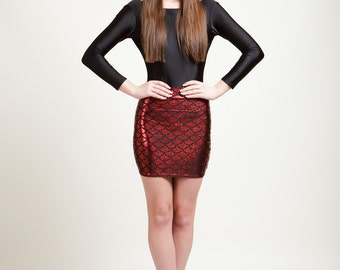 Volcano Red Mermaid Bodycon Mini-Skirt, Metallic Holographic and Super Sparkly