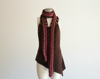 Teen Girl Gift Scarf Pink and Chocolate Brown Scarf Teen Gift for Teenage Girl Gifts Dark Brown