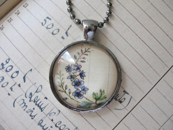 Pendant Necklace....Larkspur July Wearable Art Flower