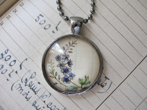 Pendant Necklace....Larkspur July Wearable Art Flower