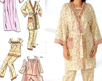 Nightgown pajamas and robe for women sewing pattern Simplicity 4319 Sz XS to M Uncut
