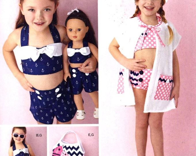 Girls retro Swimsuit playsuit doll pattern summer fashion sewing pattern Simplicity 0616 UNCUT Sz 3 to 8