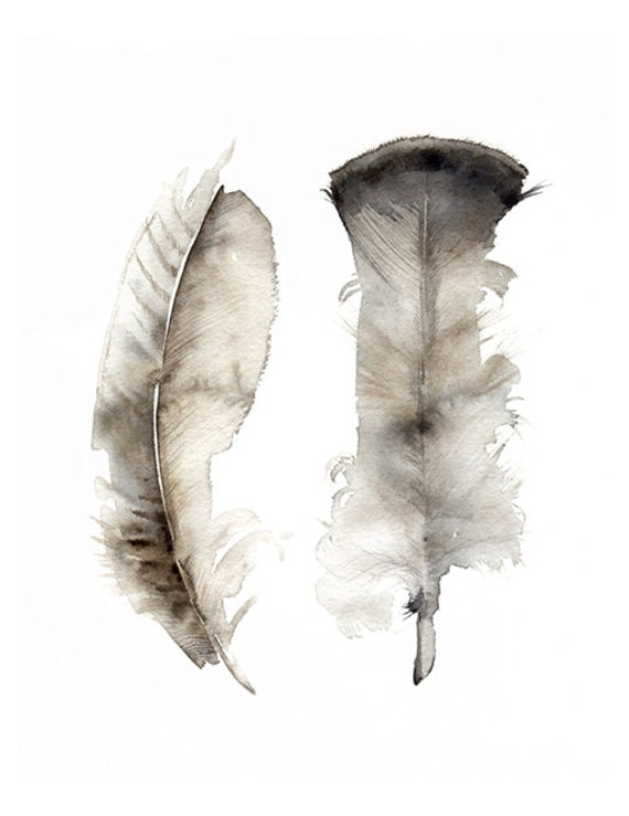 Turkey Feathers print of original watercolor painting