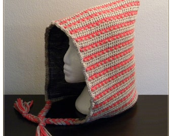 Woodland Winter Hood - red black beige stripes - wool hat lined with cotton flannel