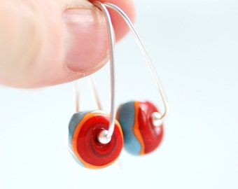 Bright Earrings, Red and Blue Earrings, Funky Glass Earrings, Statement Earrings, Fun Jewely, Whimsical Jewelry, Sterling Silver - BLOOMERS