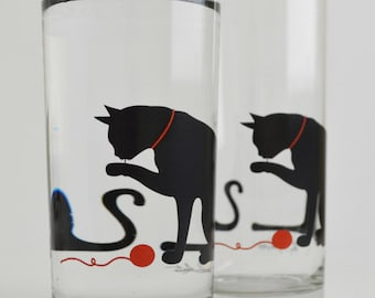 Cat Glassware - Set of 2 Everyday Glasses, Cat Glasses, Drinking Glasses, Juice Glasses, Cat Lover, Cats, Black Cat, Cat Glass