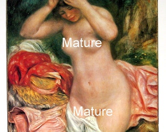 French Impressionist Art - Auguste Renoir - Bather Arranging Her Hair- 1977 Large Poster Sized Print