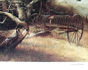 Orchard Rake, Blue Roan -  American Art - 1974 Vintage Book Page, 12.5 x 16