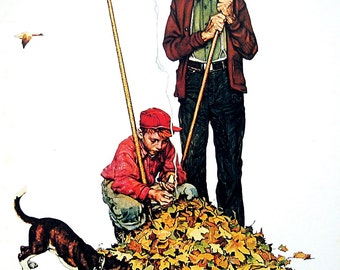 Grandpa and Me in Fall - The Four Seasons Calendar - Large Norman Rockwell Poster Sized Print - 1977 Vintage Book Page - 15 x 12