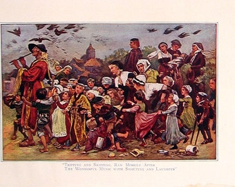 1902 Antique Children's Story Book Page - The Pied Piper of Hammelin