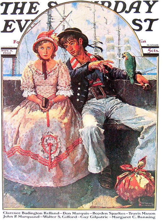 Norman Rockwell - The Yarn Spinner - Saturday Evening Post Cover with Norman Rockwell Art Book Plate 1976