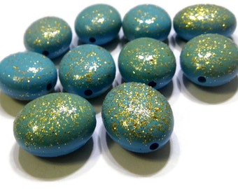 Blue Sparkly Plastic Oval Beads with Gold Gillter Qty 12 30mm x 17mm