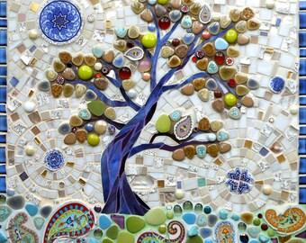 Mosaic Tree Greetings Card - Mosaic Art - Birthday Card - Stained Glass Tree - Tree of Life - Art Card - Folk Art - Rural Abstract Art