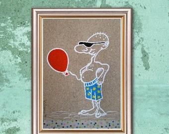 "Men's Pride... ooak, original painting, 4.5x7.1""/11,5x18 cm, acrylics, paper, surreal, fantasy, men"