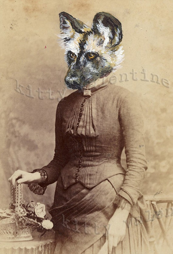 victorian art print by kitty valentine - african wild dog lady