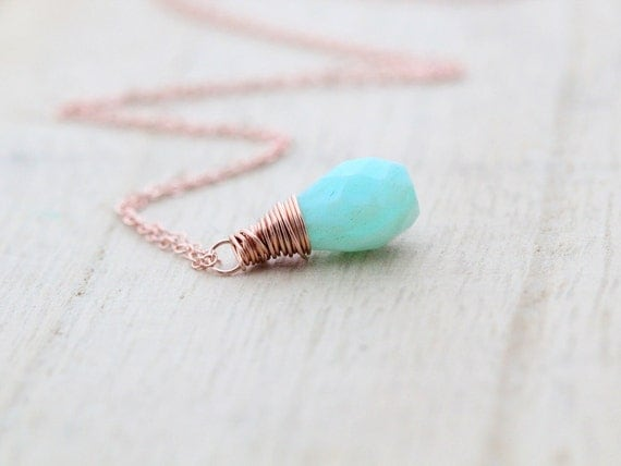 Reserved For S - Opal Necklace In Rose Gold, Baby Blue October Birthstone Pendant, Gifts Under 50, Holiday Fashion