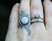 Etherial Faceted Moonstone Crown Ring Sterling Silver Free Domestic Shipping
