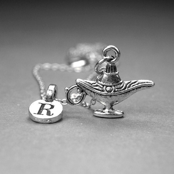 Genie Bottle Necklace: Small Genie Lamp Bottle Charm Necklace 3D Silver Plated