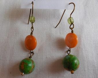 Lovely Lime Mosaic Turquoise Dangle Earrings