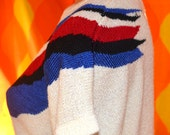 70s vintage SWEATER short sleeve shirt WINGS boho stripe knit top Medium 80s women
