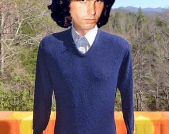 70s vintage sweater IZOD LACOSTE v-neck golf navy blue Small XS grandpa 80s