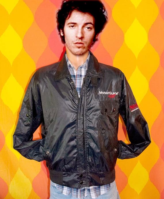 vintage 80s jacket NINJA tough black motorguide windbreaker shiny Medium members only fishing