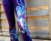 Batik Yoga Pants in Deep Blue and Purple